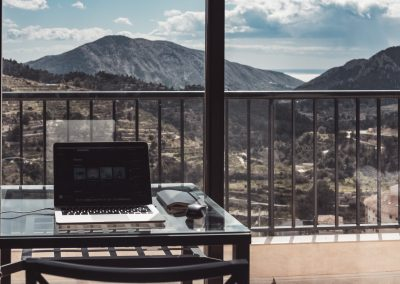 remote working laptop with view